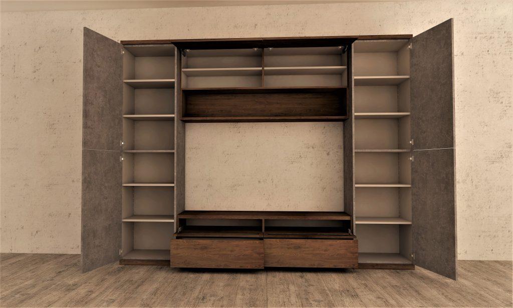 ブラウンの壁面収納テレビボード